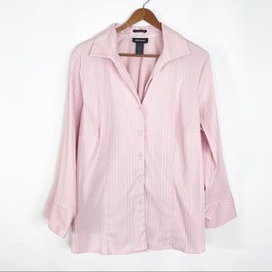 Avenue Classic fit stretch button front shirt pink